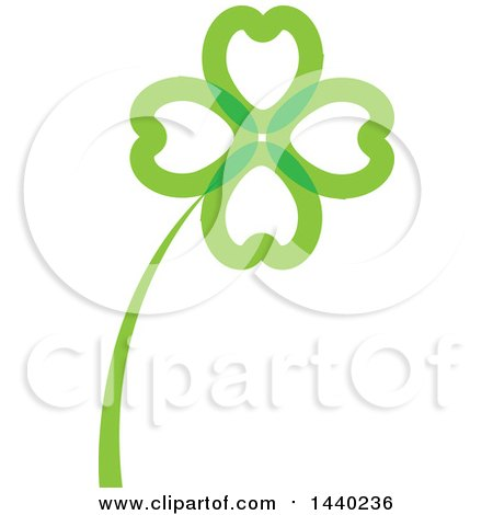 Clipart of a Green St Patricks Day Four Leaf Shamrock Clover Leaf and Stalk - Royalty Free Vector Illustration by ColorMagic