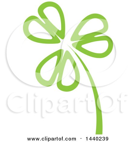 Clipart of a Green St Patricks Day Shamrock Clover Leaf and Stalk - Royalty Free Vector Illustration by ColorMagic
