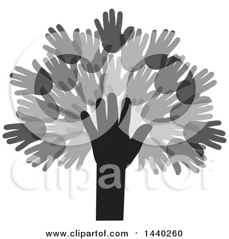 Clipart of a Tree of Hands - Royalty Free Vector Illustration by ColorMagic