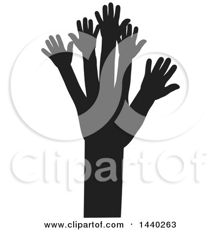 Clipart of a Black and White Tree of Hands - Royalty Free Vector Illustration by ColorMagic