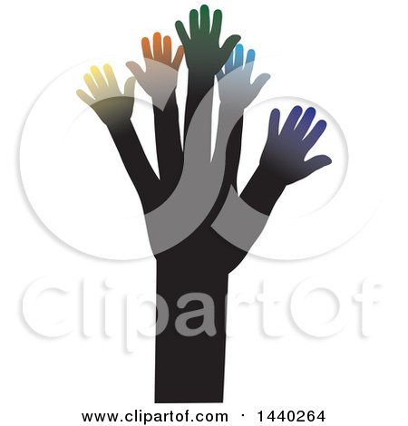 Clipart of a Tree of Hands with Colorful Branches - Royalty Free Vector Illustration by ColorMagic