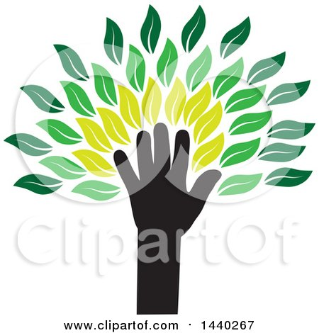 Clipart of a Hand Forming the Trunk of a Tree, with Green Leaves - Royalty Free Vector Illustration by ColorMagic