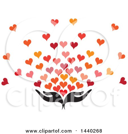 Clipart of a Pair of Nurturing Hands with Love Hearts - Royalty Free Vector Illustration by ColorMagic