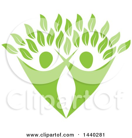 Clipart of a Green Couple Forming the Trunk of a Tree - Royalty Free Vector Illustration by ColorMagic