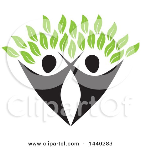 Clipart of a Couple Forming the Trunk of a Tree, with Green Leaves - Royalty Free Vector Illustration by ColorMagic