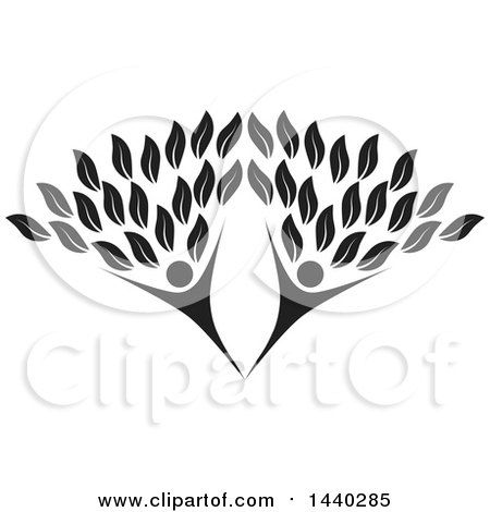Clipart of a Black and White Couple Forming the Trunk of a Tree - Royalty Free Vector Illustration by ColorMagic
