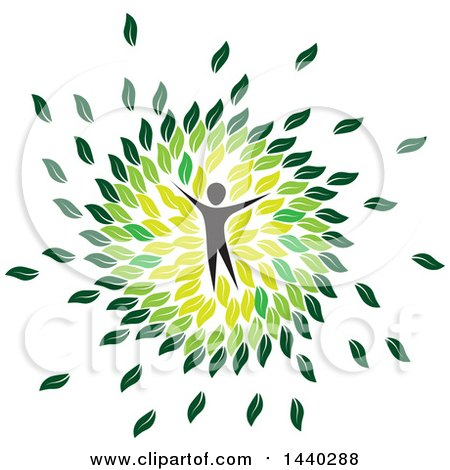 Clipart of a Person in a Circle of Green Leaves - Royalty Free Vector Illustration by ColorMagic