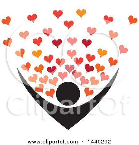 Clipart of a Nurturing Person with Love Hearts - Royalty Free Vector Illustration by ColorMagic