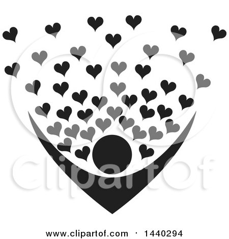 Clipart of a Black and White Nurturing Person with Love Hearts - Royalty Free Vector Illustration by ColorMagic