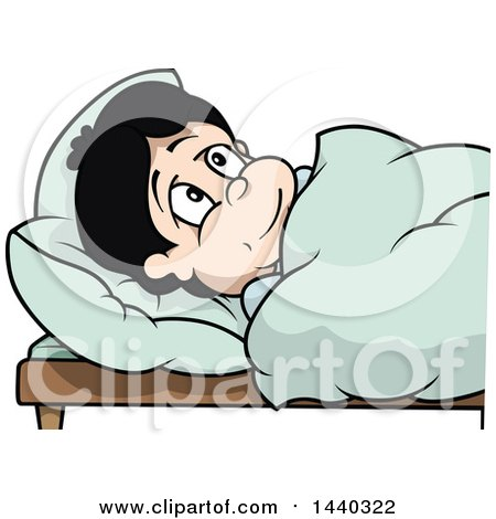 Clipart of a Cartoon Boy in Bed - Royalty Free Vector Illustration by dero