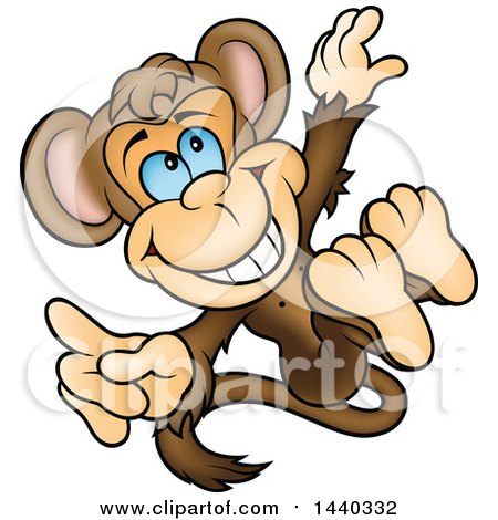 Clipart of a Cartoon Happy Monkey Jumping - Royalty Free Vector Illustration by dero