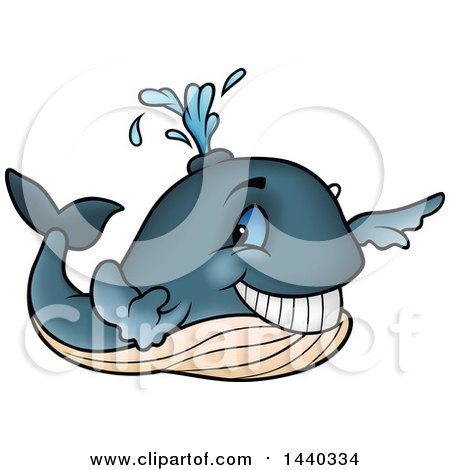 Clipart of a Cartoon Happy Whale Spouting - Royalty Free Vector Illustration by dero
