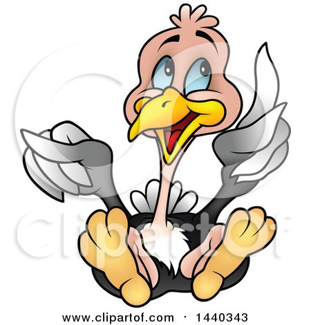 Clipart of a Cartoon Ostrich Holding up a Feather ...