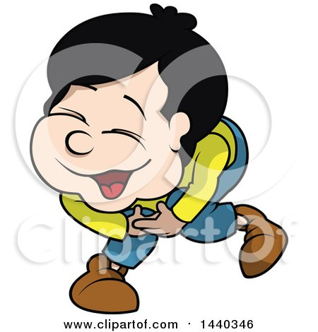 Clipart of a Cartoon Boy Laughing - Royalty Free Vector Illustration by dero