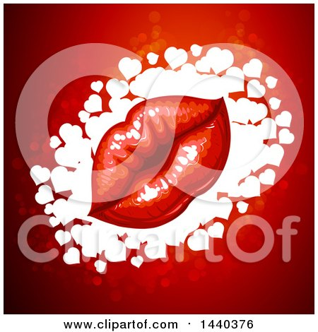 Clipart of a Pair of Kissing Lips over Hearts on Red - Royalty Free Vector Illustration by merlinul