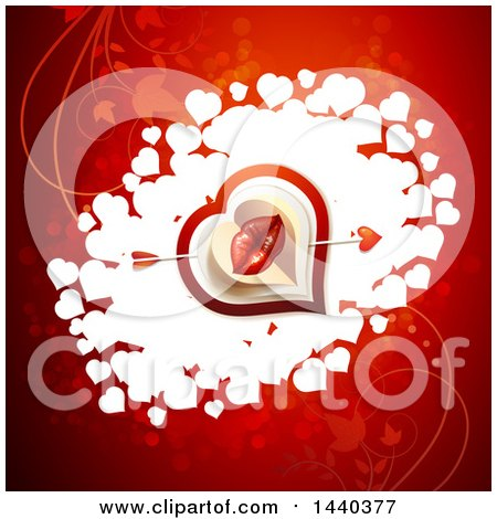 Clipart of a Pair of Kissing Lips with Cupids Arrow over Hearts on Red - Royalty Free Vector Illustration by merlinul