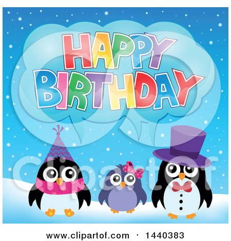 Clipart of a Party Penguin Family - Royalty Free Vector Illustration by visekart