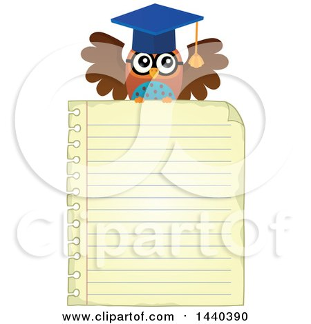 Clipart of a Wise Professor Owl Flying with a Sheet of Ruled Paper - Royalty Free Vector Illustration by visekart