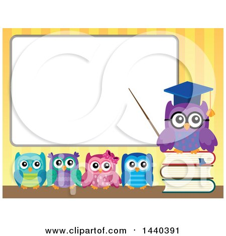Clipart of a Wise Professor Owl and Students at a White Board - Royalty Free Vector Illustration by visekart