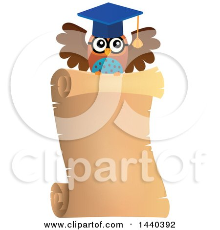 Clipart of a Wise Professor Owl Flying with a Parchment Scroll - Royalty Free Vector Illustration by visekart