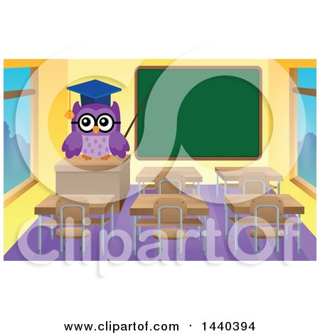 Clipart of a Wise Professor Owl in a Class Room - Royalty Free Vector Illustration by visekart