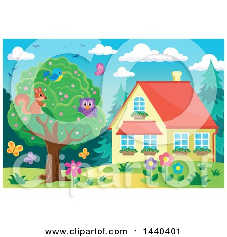 Clipart of a Bird, Swuirrel and Owl in a Tree by a House - Royalty Free Vector Illustration by visekart