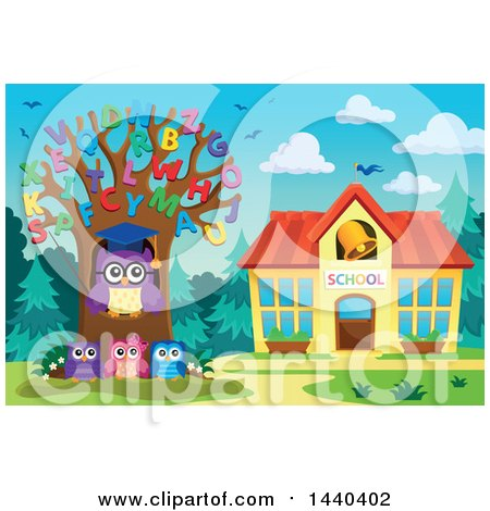 Clipart of a Wise Professor Owl and Students with an Alphabet Tree - Royalty Free Vector Illustration by visekart