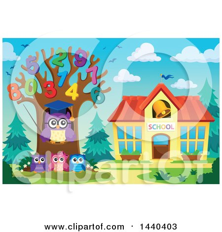 Clipart of a Wise Professor Owl and Students with a Number Tree - Royalty Free Vector Illustration by visekart