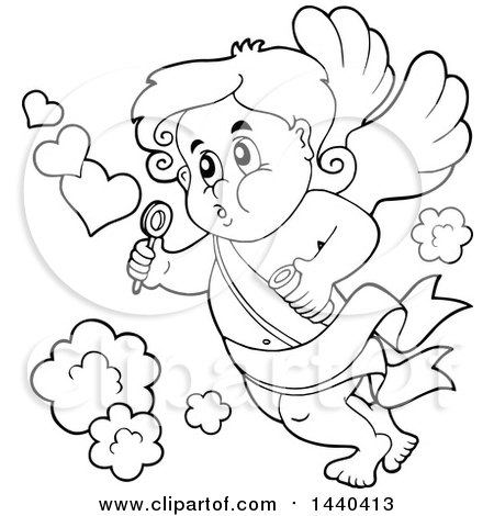 Clipart of a Black and White Lineart Valentines Day Cupid Blowing Bubbles - Royalty Free Vector Illustration by visekart