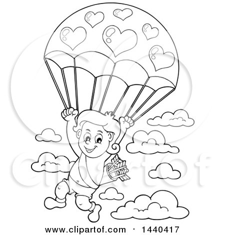 Clipart of a Black and White Lineart Valentines Day Cupid Parachuting - Royalty Free Vector Illustration by visekart