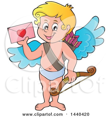 Clipart Of A Happy Cupid Holding A Valentine Royalty Free Vector Illustration