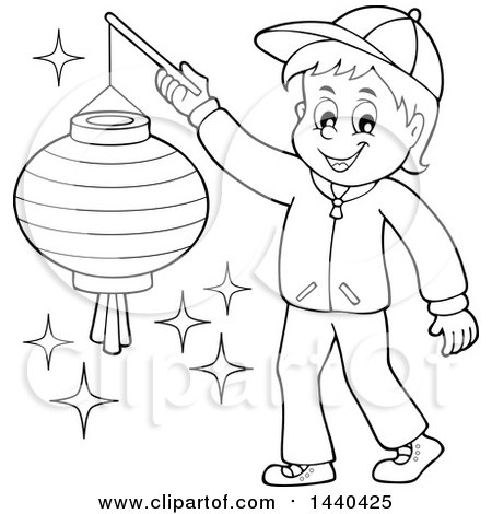 Clipart Of A Cartoon Black And White Lineart Happy Boy Holding Paper Lantern