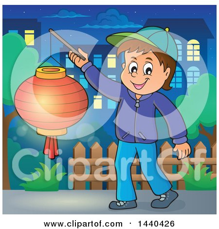 Clipart of a Cartoon Happy Caucasian Boy Holding a Paper Lantern in a Town - Royalty Free Vector Illustration by visekart