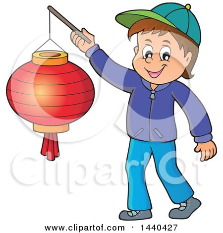 Clipart of a Cartoon Happy Caucasian Boy Holding a Paper Lantern - Royalty Free Vector Illustration by visekart