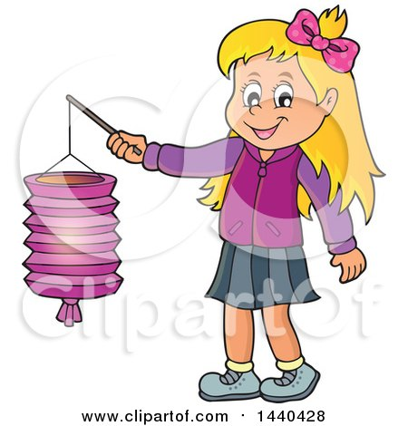 Clipart of a Cartoon Happy Caucasian Girl Holding a Paper Lantern - Royalty Free Vector Illustration by visekart