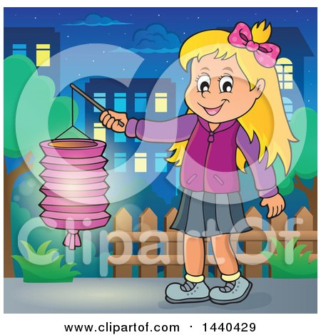 Clipart of a Cartoon Happy Caucasian Girl Holding a Paper Lantern in a Town - Royalty Free Vector Illustration by visekart