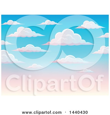 Clipart of a Background of a Blue and Pink Sunset Sky with Clouds - Royalty Free Vector Illustration by visekart