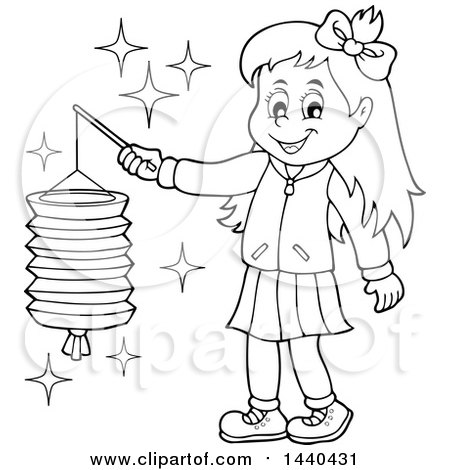 Clipart of a Cartoon Black and White Lineart Happy Girl Holding a Paper Lantern - Royalty Free Vector Illustration by visekart