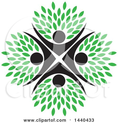 Clipart Of A Teamwork Unity Group Of People Forming A Tree With Green Leaves Royalty Free Vector Illustration