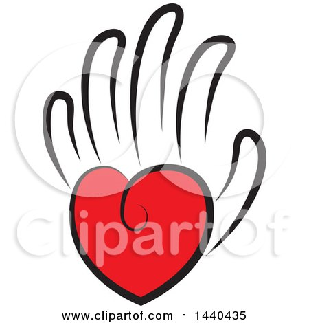 Clipart Of A Love Heart As The Palm Of A Hand Royalty Free Vector Illustration