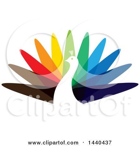 Clipart of a Colorful Peacock Logo - Royalty Free Vector Illustration by ColorMagic