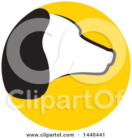 Clipart of a Profiled Dog Head in a Yellow Circle - Royalty Free Vector Illustration by ColorMagic