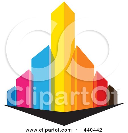 Clipart of a City with Colorful Skyscrapers - Royalty Free Vector Illustration by ColorMagic
