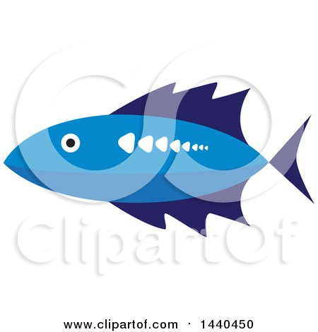 Clipart of a Blue Marine Fish - Royalty Free Vector Illustration by ColorMagic