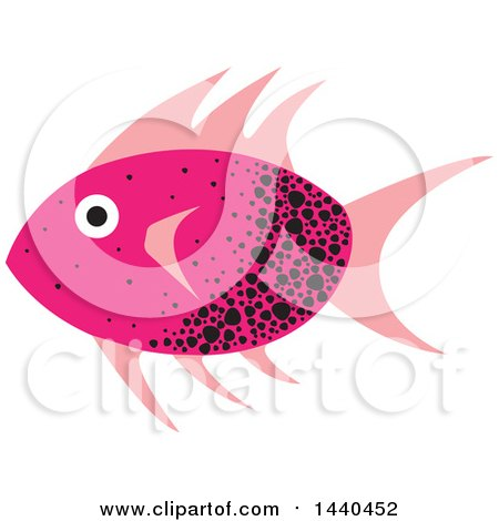 Clipart of a Pink and Black Marine Fish - Royalty Free Vector Illustration by ColorMagic