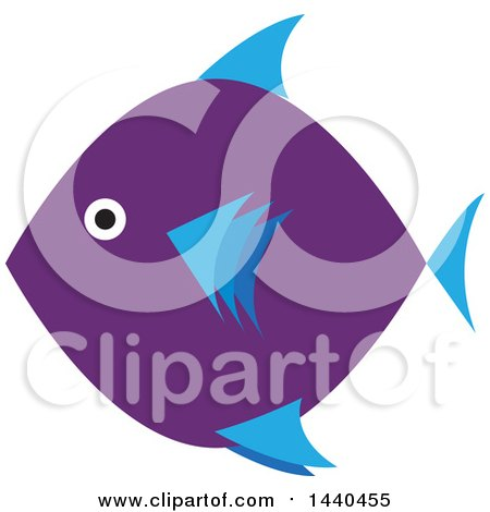 Clipart of a Blue and Purple Marine Fish - Royalty Free Vector Illustration by ColorMagic