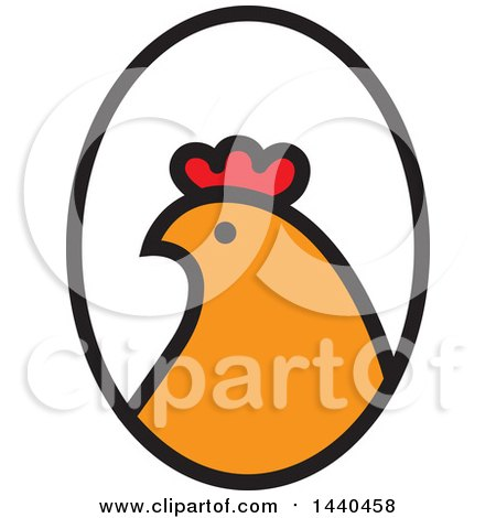 Clipart Of A Hen Head In Profile In An Oval Royalty Free Vector Illustration