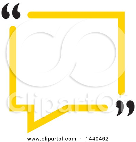 Clipart of a Yellow Speech Balloon with Quotation Marks - Royalty Free Vector Illustration by ColorMagic