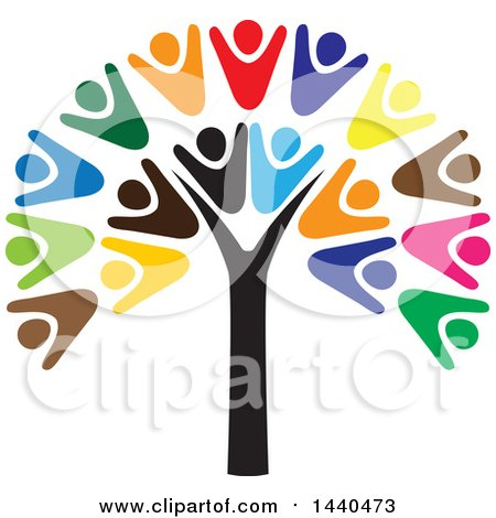 Clipart of a Teamwork Unity Group of People Forming a Tree - Royalty Free Vector Illustration by ColorMagic