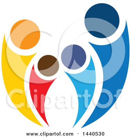 Clipart of a Teamwork Unity Group of People or a Family - Royalty Free Vector Illustration by ColorMagic